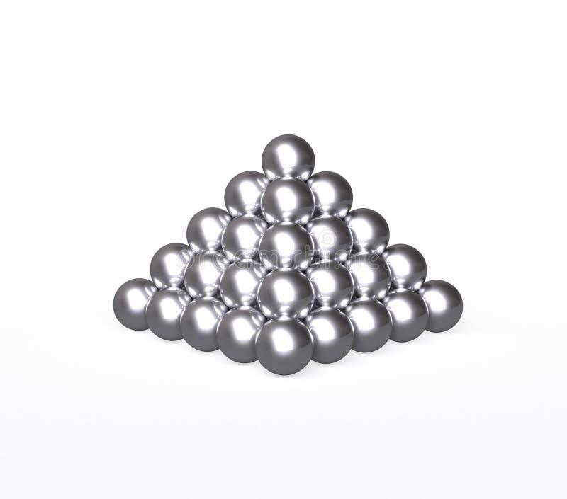 Pirámide con las bolas de plata stock de ilustración