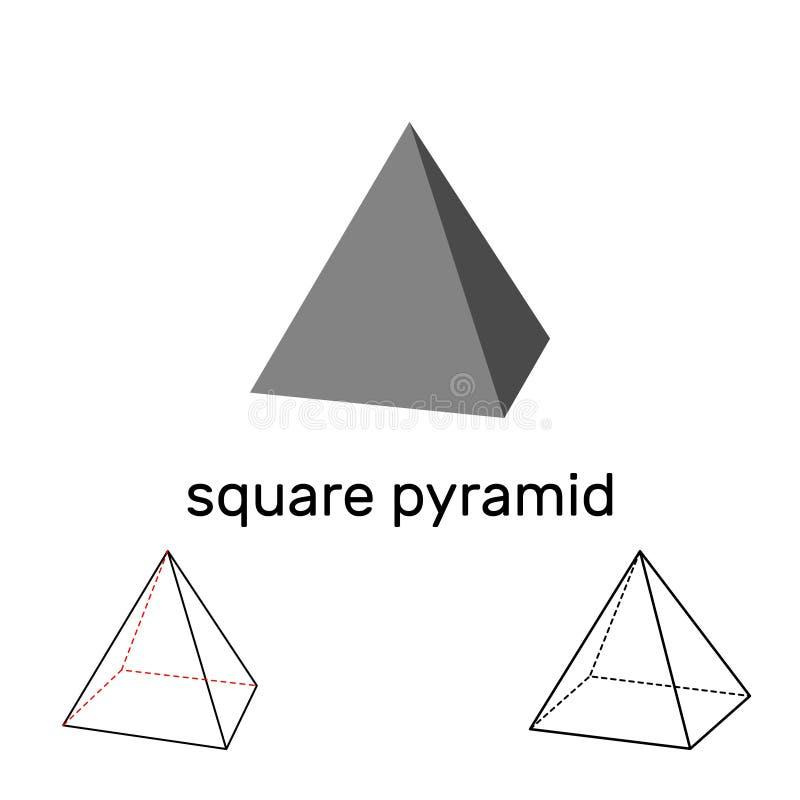 Pirámide cuadrada Dimensión de una variable geométrica Aislado en el fondo blanco stock de ilustración