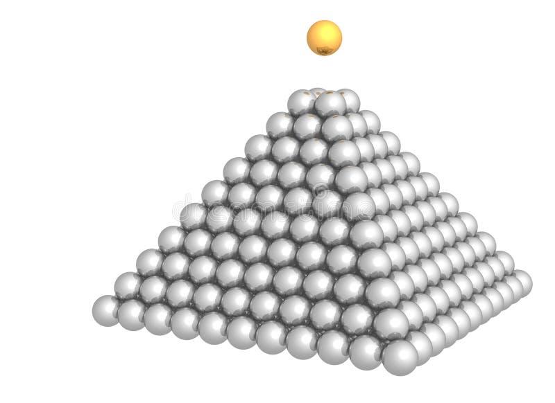 Pirámide de esferas con la esfera del oro en la tapa libre illustration