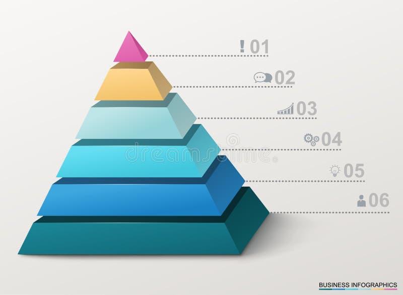 Pirámide de Infographic con números e iconos del negocio stock de ilustración
