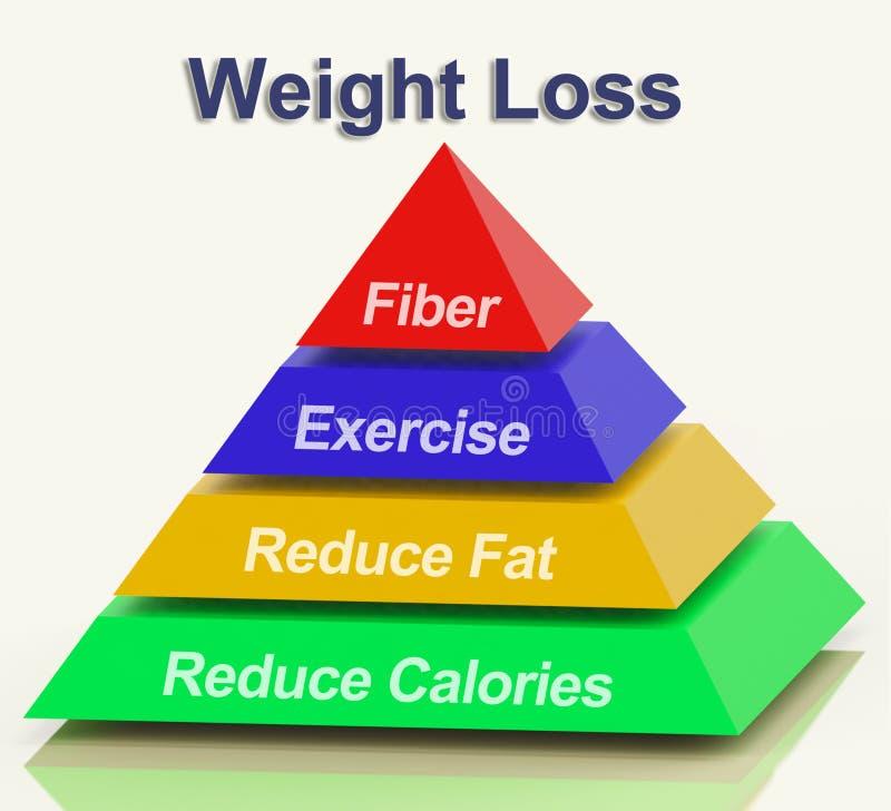 Pirámide de la pérdida de peso que muestra la grasa y calorías del ejercicio de la fibra ilustración del vector