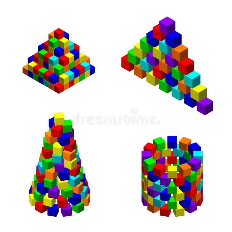 Pirámide de las unidades de creación del juguete fijadas Illustrati colorido del vector libre illustration