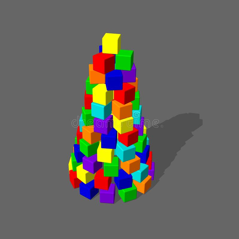 Pirámide de las unidades de creación del juguete illustratio colorido del vector 3d stock de ilustración