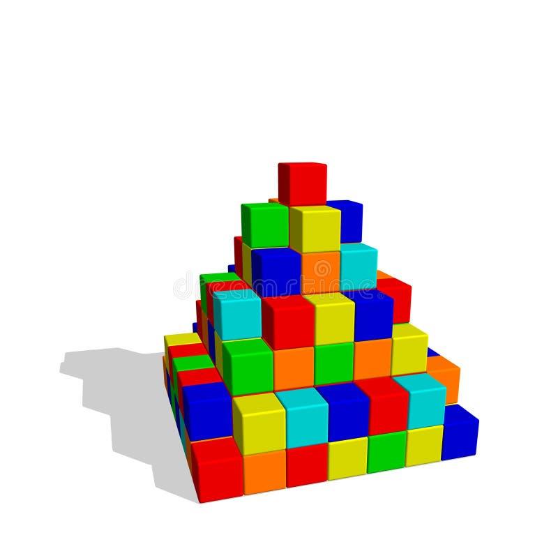 Pirámide de las unidades de creación del juguete Ejemplo colorido del vector stock de ilustración