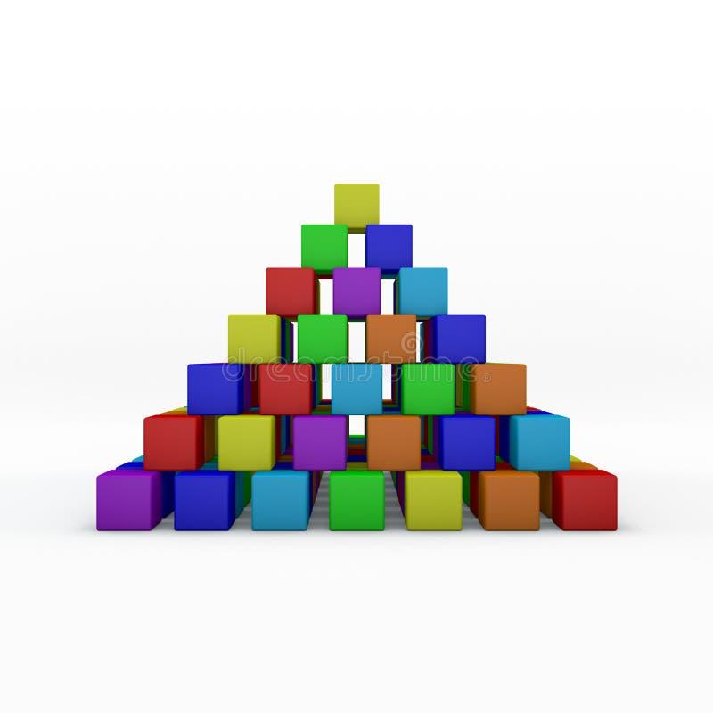 Pirámide de las unidades de creación del juguete ilustración de la representación 3d libre illustration