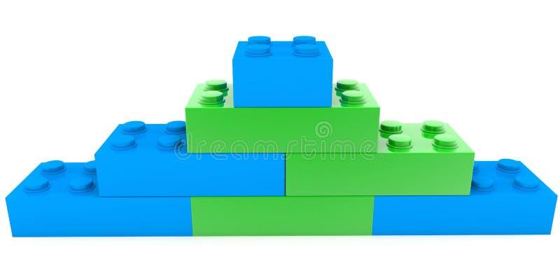 Pirámide de los ladrillos del juguete en colores verdes y azules stock de ilustración