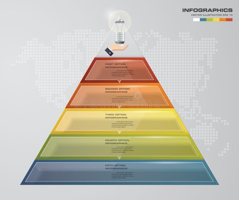 pirámide de 5 pasos con el espacio libre para el texto en cada nivel infographics, presentaciones o publicidad libre illustration