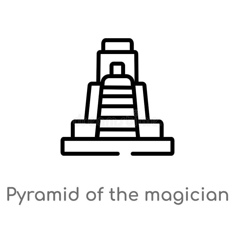 pirámide del esquema del icono del vector del mago línea simple negra aislada ejemplo del elemento del concepto de los monumentos stock de ilustración