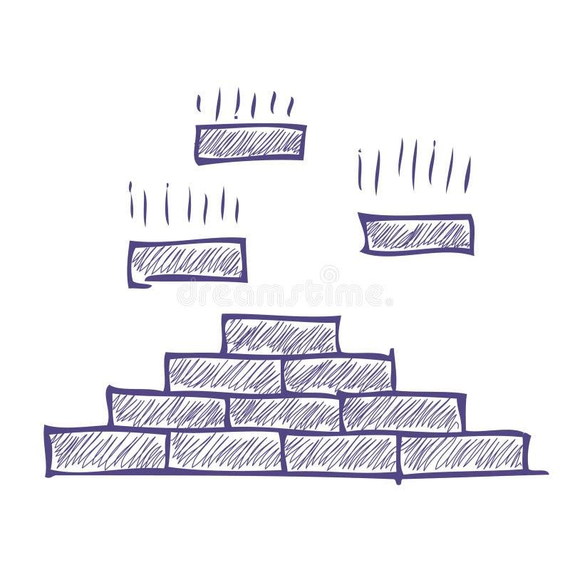 Pirámide del ladrillo stock de ilustración