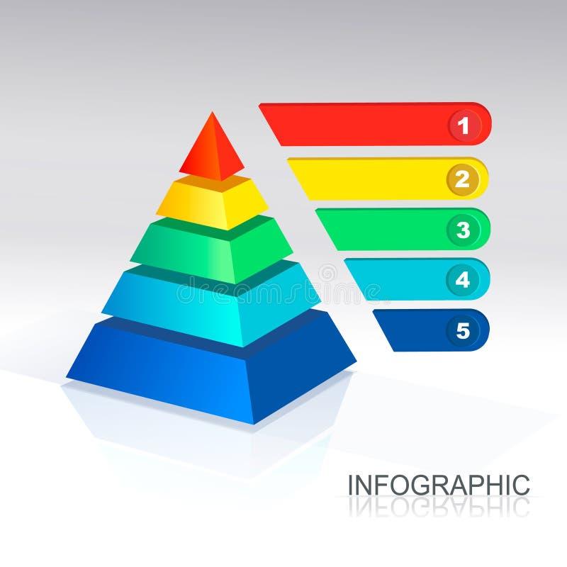 Pirámide del vector para infographic y las presentaciones ilustración del vector