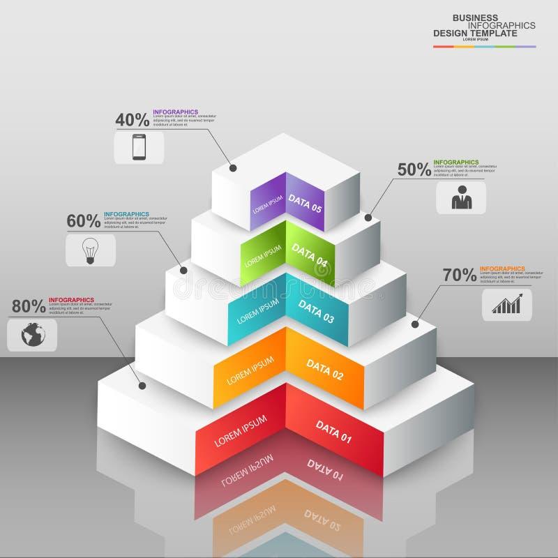 Pirámide digital abstracta Infographic del negocio 3D stock de ilustración