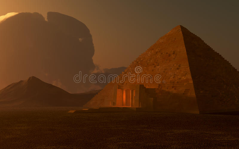 Pirámide egipcia en la oscuridad stock de ilustración