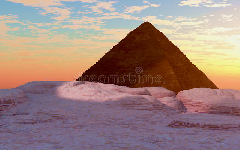 Pirámide egipcia en la puesta del sol stock de ilustración