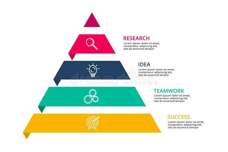 Pirámide encima de las flechas infographic, presentación del vector de la carta del diagrama Concepto de la cronología del neg libre illustration