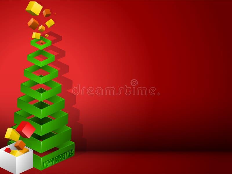 Pirámide geométrica del árbol de navidad con los regalos ilustración del vector