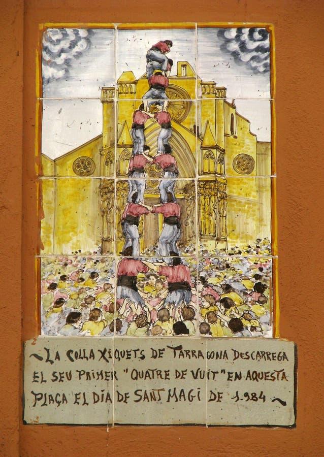 Pirámide humana (Castell) - pintura fotografía de archivo