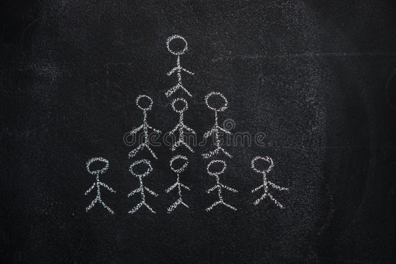 Pirámide humana del equipo en la pizarra negra foto de archivo libre de regalías