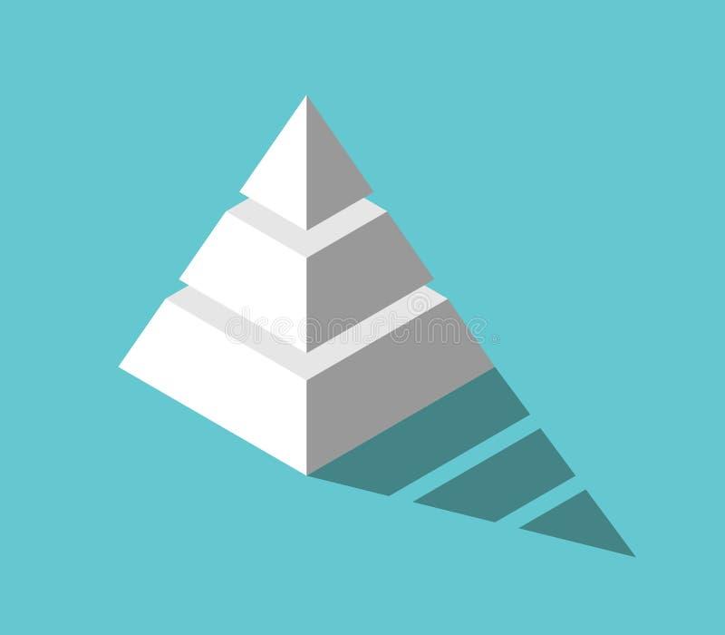 Pirámide isométrica, tres niveles ilustración del vector