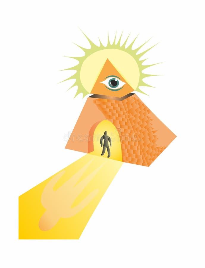 Pirámide masónica y el ojo de dios ilustración del vector