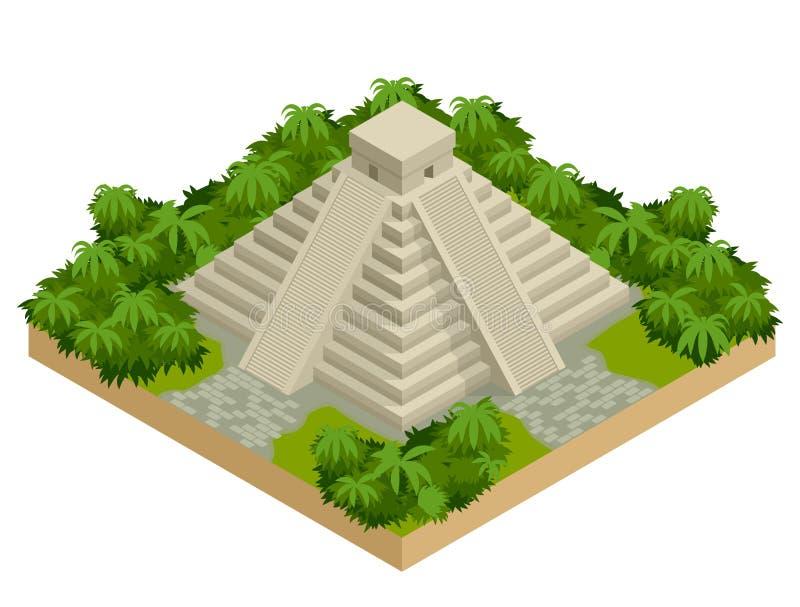 Pirámide maya isométrica aislada en blanco Bandera del viaje del vector Las pirámides teotihuacan en México, Norteamérica stock de ilustración
