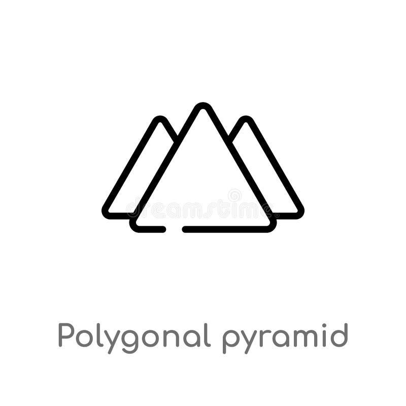 pir?mide poligonal del esquema del icono del vector de los tri?ngulos l?nea simple negra aislada ejemplo del elemento del concept stock de ilustración