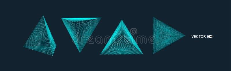 pirámide Rejilla molecular estilo de la tecnología 3D Ilustración del vector Estructura de la conexión para la química y la cienc ilustración del vector