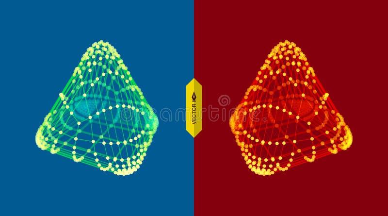 pirámide Rejilla molecular estilo de la tecnología 3D Ilustración del vector Estructura futurista de la conexión stock de ilustración