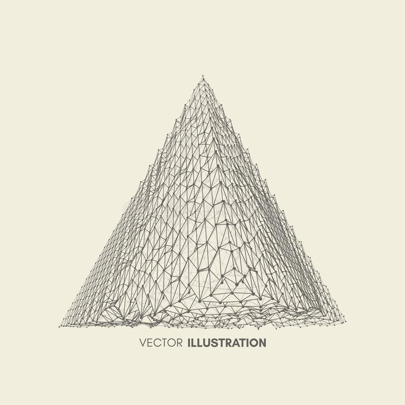 pirámide Tetraedro regular Sólido platónico estructura de la conexión 3D Elemento geométrico del enrejado para el diseño stock de ilustración