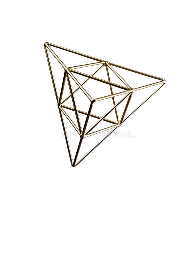 Pirámide triangular de oro imagen de archivo