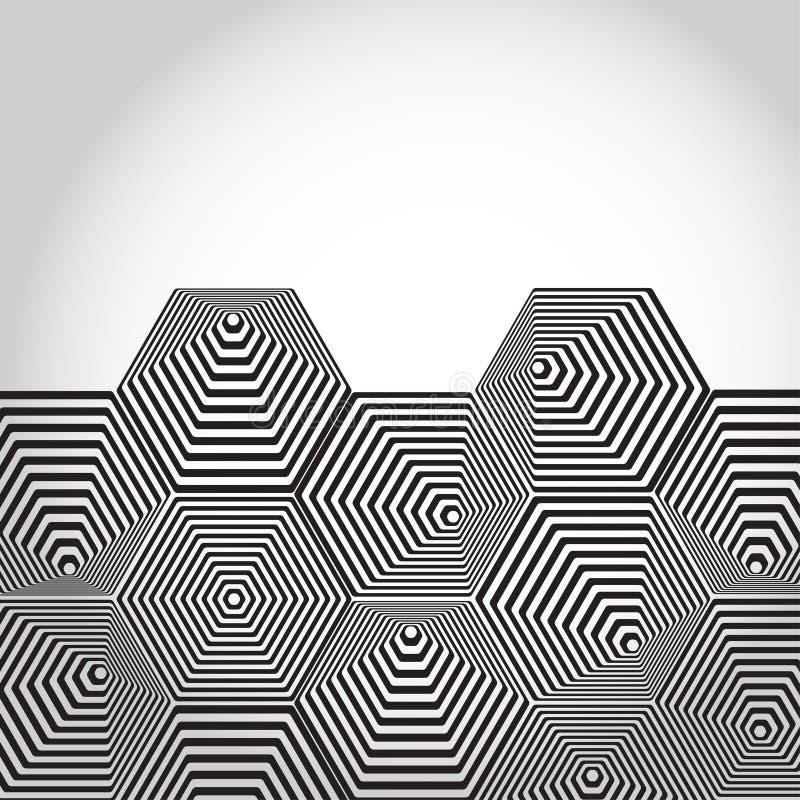 Pirámide volumétrica 3D hexágono Fondo de la ilusión óptica blA libre illustration