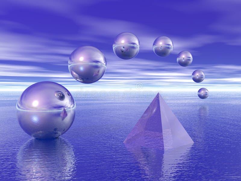 Pirámide y esferas ilustración del vector