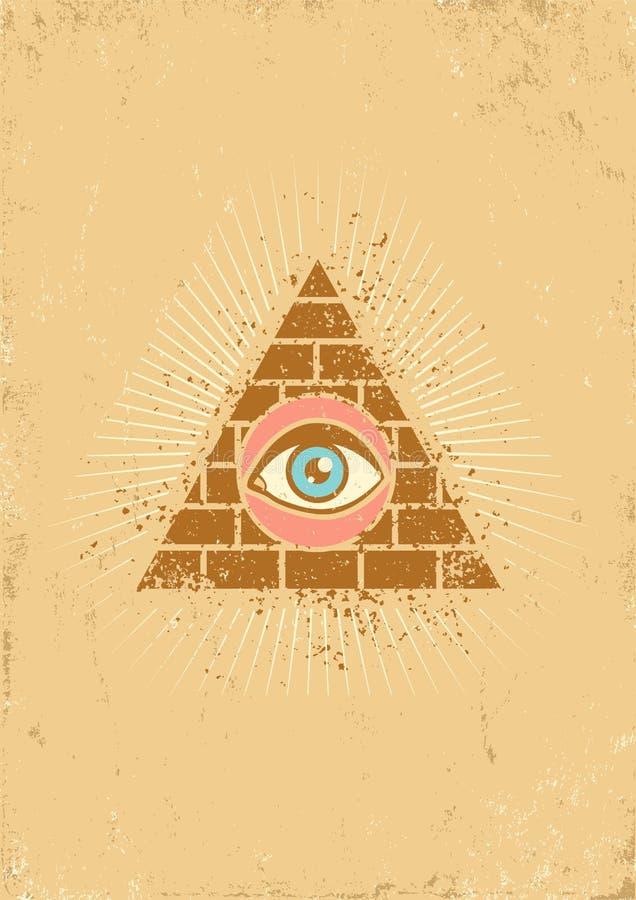 Pirámide y ojo stock de ilustración