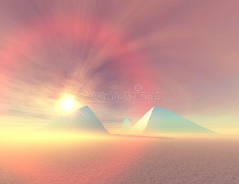 Pirámides azules stock de ilustración
