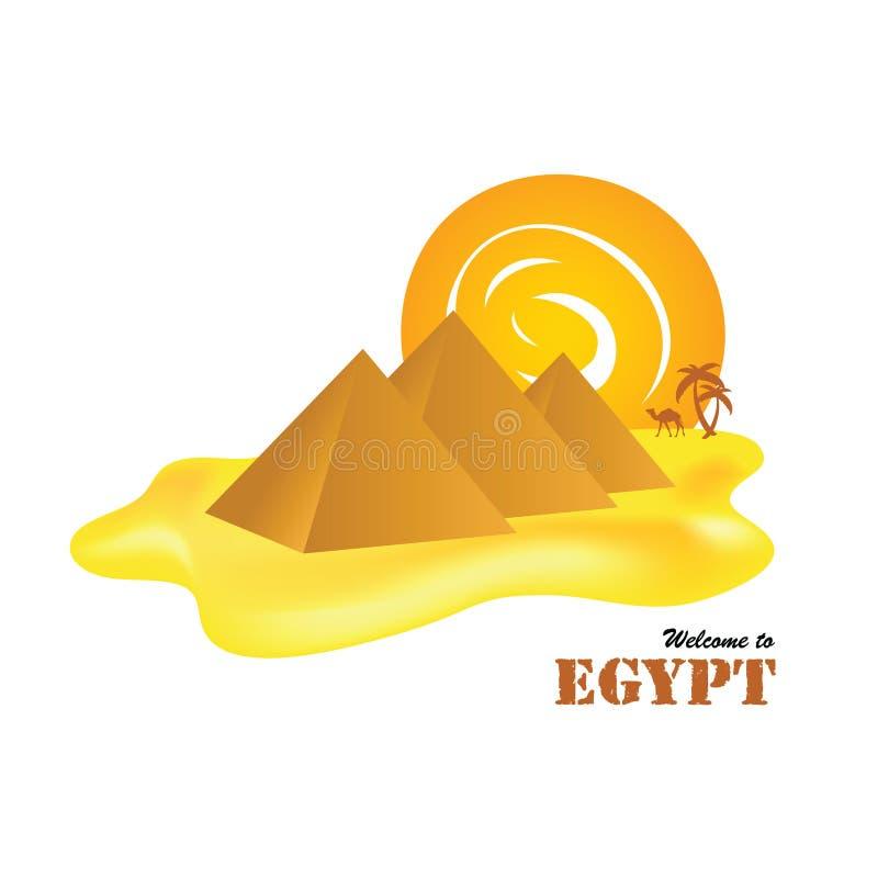 Pirámides de Egipto con el sol ilustración del vector