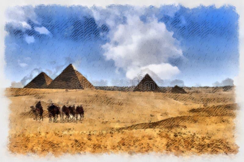 Pirámides de Giza en Egyt ilustración del vector
