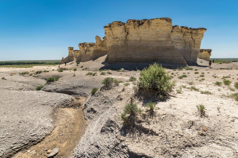 Pirámides de la tiza de las rocas del monumento en Kansas occidental foto de archivo libre de regalías
