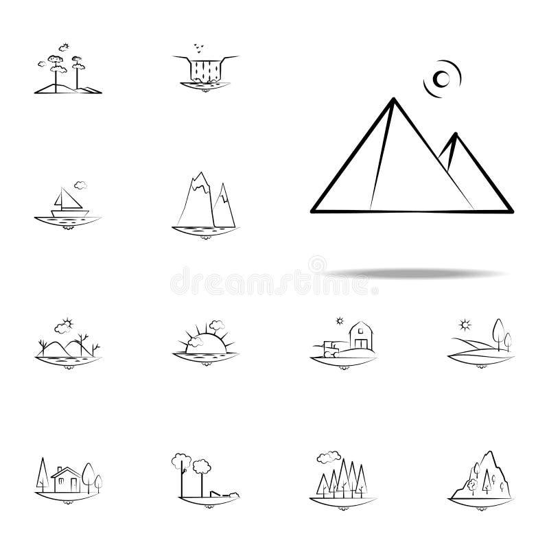 Pirámides del icono de Egipto Sistema universal de los iconos de Landspace para la web y el móvil ilustración del vector