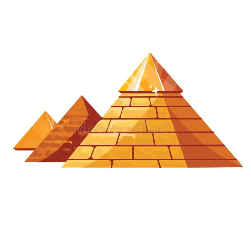 Pirámides egipcias aisladas en blanco stock de ilustración
