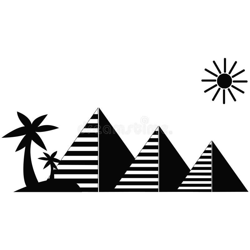 Pirámides egipcias con las palmeras libre illustration
