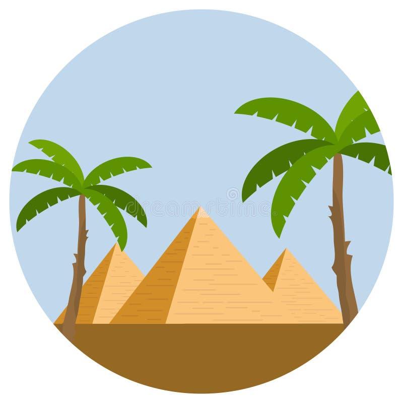 Pirámides egipcias con las palmeras y desierto contra el cielo azul stock de ilustración