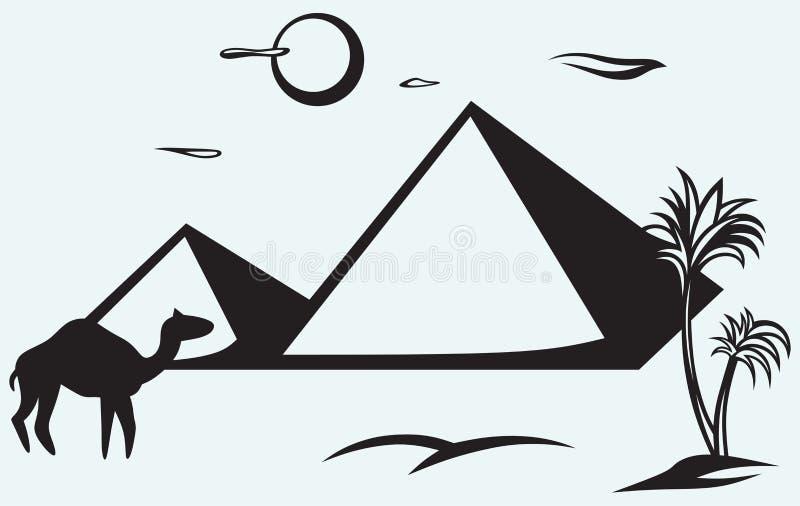 Pirámides en Egipto ilustración del vector