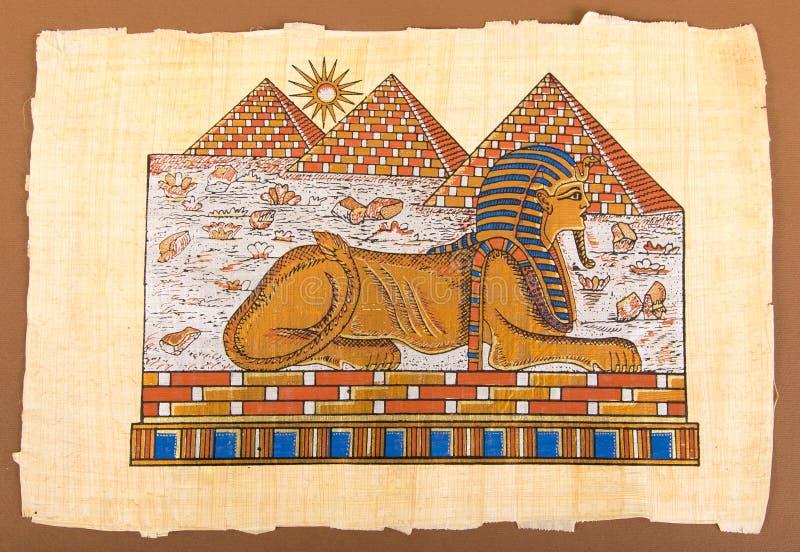 Pirámides y esfinge egipcias de la mano en el papiro libre illustration