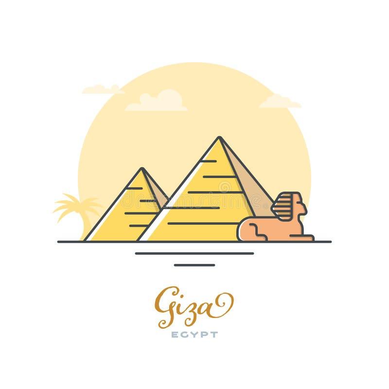 Pirámides y esfinge en Giza, Egipto, ejemplo plano del vector libre illustration
