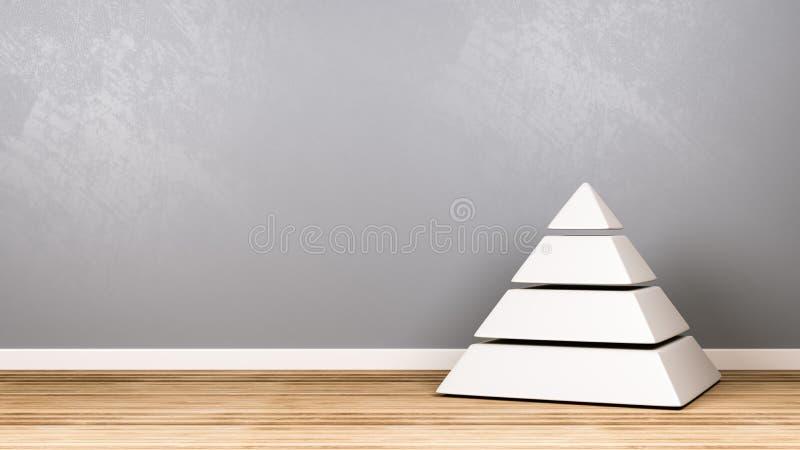 Pirâmide branca de quatro níveis no assoalho de madeira contra a parede ilustração do vetor