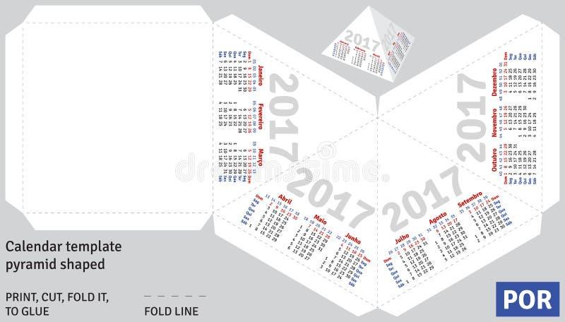 Pirâmide 2017 (brasileira) portuguesa do calendário do molde dada forma ilustração do vetor