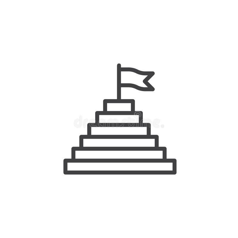 Pirâmide com a bandeira na linha superior ícone ilustração royalty free