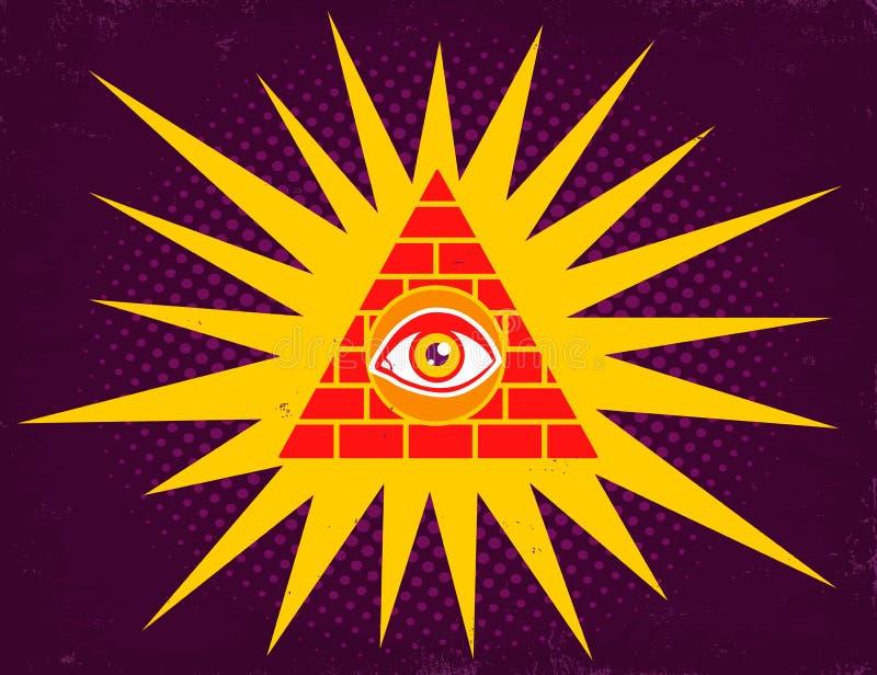 Pirâmide com olho ilustração do vetor