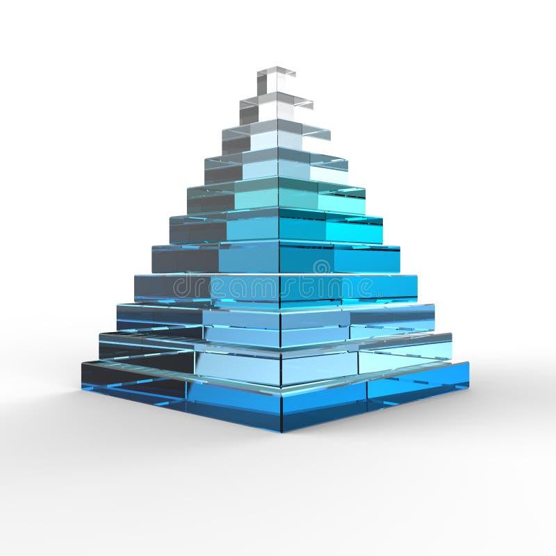 Pirâmide 3D de vidro ilustração royalty free