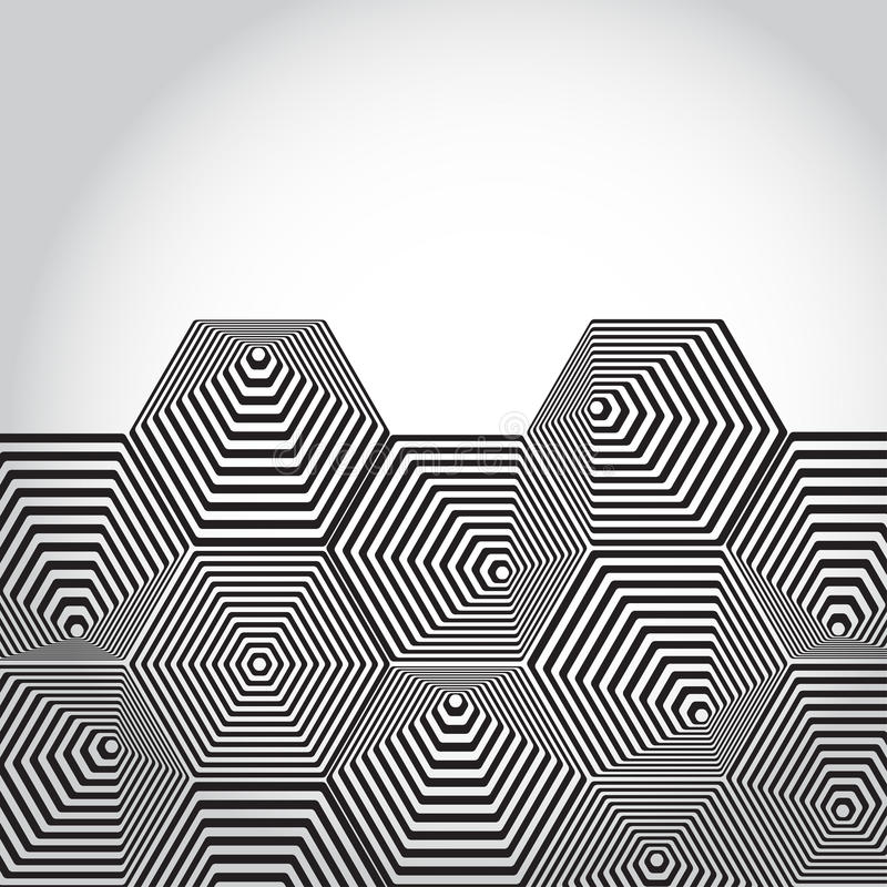 Pirâmide 3D volumétrico hexágono Fundo da ilusão ótica blA ilustração royalty free