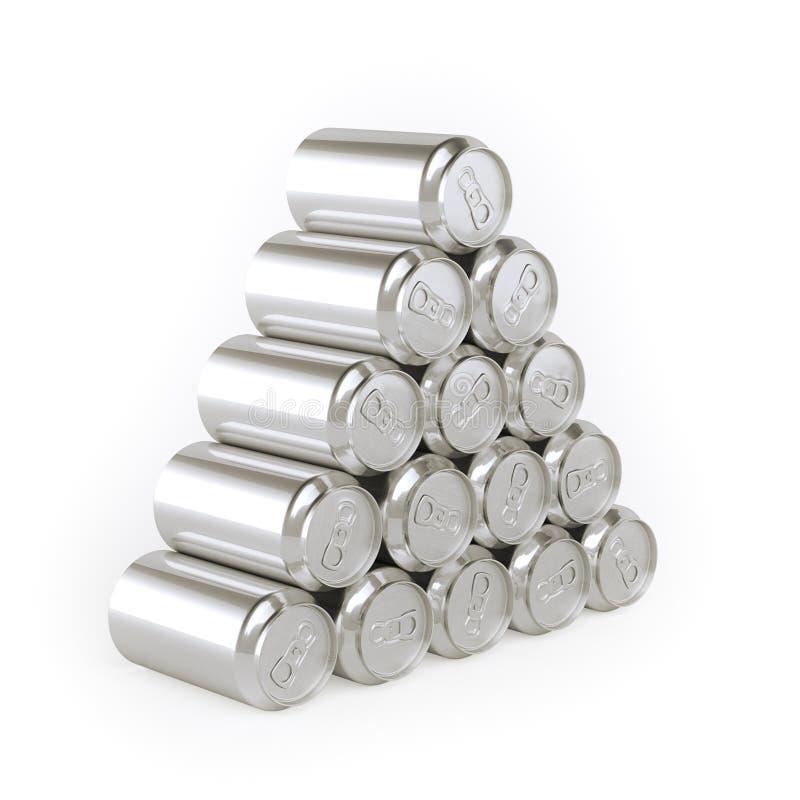 Pirâmide da imagem das latas (estanhar o material) para anunciar ilustração stock